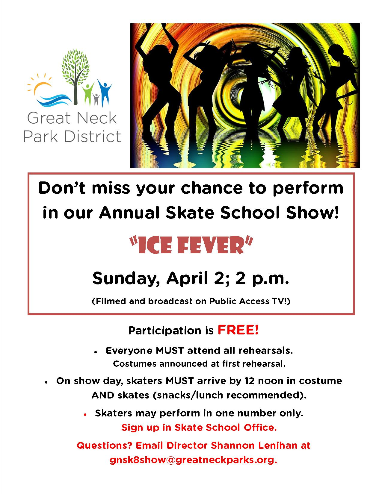 2017 Annual Skate School Show Ice Fever flyer