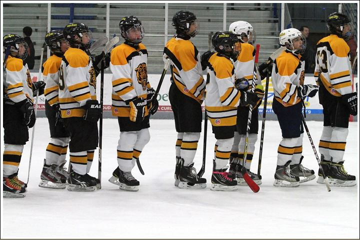 Great Neck Bruins Hockey Team in a line