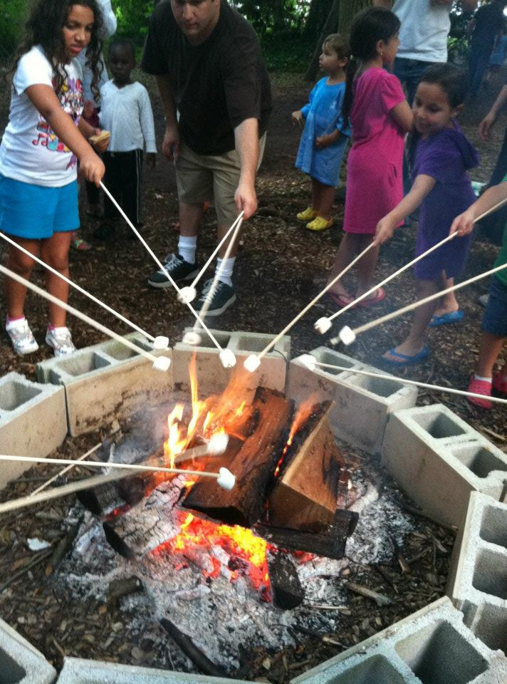 campfire and marshmallow roast