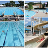 Pool Collage of 4 photos featuring pool lanes and water slides